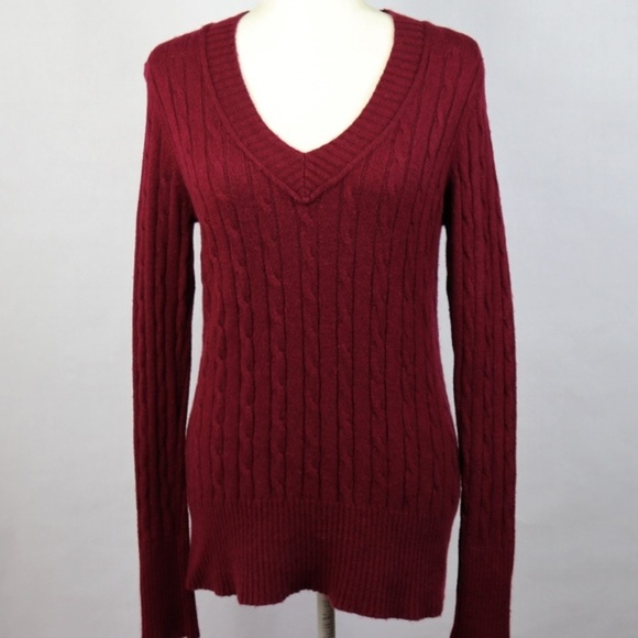 0251b9ff7eb597 LOFT Sweaters | Rayon Wool V Neck Cable Sweater Burgundy M | Poshmark